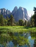 De bezinningen van het water in Vallei Yosemite Royalty-vrije Stock Fotografie