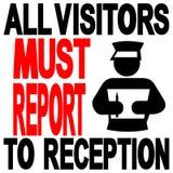 De bezoekers aan ontvangst ondertekenen Stock Foto's