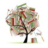 De bibliotheek van boeken op boomtakken voor uw ontwerp royalty-vrije illustratie