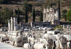 De bibliotheek van Celsus, Ephesus, Izmir, Turkije Royalty-vrije Stock Foto's