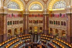 De bibliotheek van congres de V.S. LOC Hoofdlezingsruimte bij de Bibliotheek van Congres stock afbeelding