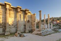 De Bibliotheek van Hadrian, Athene Stock Foto's