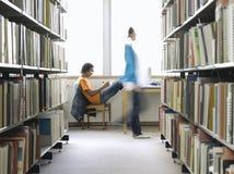 De Bibliotheek van Studentdoing homework in stock afbeeldingen