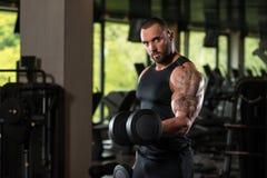 De Bicepsen van de de Mensenoefening van de geschiktheidsspier met Domoren Royalty-vrije Stock Afbeeldingen
