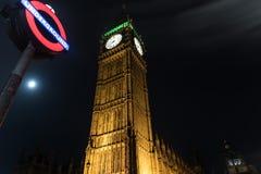 De Big Ben bij Nacht in Londen Royalty-vrije Stock Fotografie