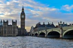 De Big Ben en Brug van Westminster in Londen Royalty-vrije Stock Fotografie