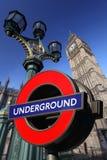 De Big Ben met Ondergronds, Londen, het UK Royalty-vrije Stock Foto