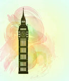De Big Ben op kleurrijke achtergrond Het gezicht van Londen stock illustratie