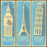 De Big Ben-toren Londen, de toren Parijs van Eiffel en de toren Rome van Pisa Vector Illustratie