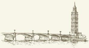 De Big Ben Vector tekening Stock Afbeeldingen
