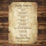 De Bijbelvers van het Philippians4:8 stock afbeeldingen