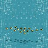 De bijen die van het beeldverhaal met schaduw vliegen Stock Fotografie