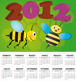 de bijenkalender het Italiaans van 2012 Stock Afbeeldingen