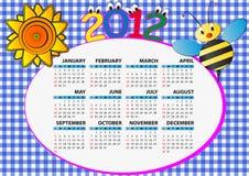de bijenkalender van 2012 Royalty-vrije Stock Afbeeldingen