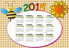 de bijenkalender van 2015 Stock Foto's