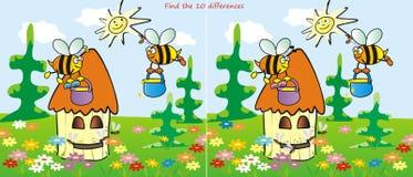 De bijenkorf vindt 10 verschillen Royalty-vrije Stock Afbeeldingen