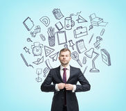 De bijkomende schets van het zakenmanbureau Stock Afbeeldingen
