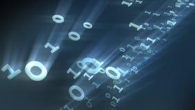 De binaire beetjes en bytesdeeltjes van computeraantallen het 3d teruggeven Stock Fotografie