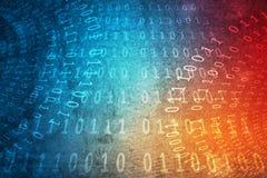 De binaire code, betekent wachtwoord, op de kleuren concrete muur van de grungegradiënt voor abstracte Achtergrond stock fotografie
