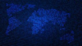 De binaire code van de wereldkaart Stock Fotografie