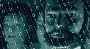 De binaire code van het computerscherm, cyber aanval Royalty-vrije Stock Afbeeldingen