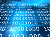 De binaire codes vatten blauwe achtergrond samen Stock Fotografie