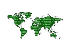 De binaire (Groene) Kaart van de Wereld Stock Foto