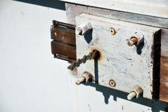De binnenkant van het boutslot met een sleutel royalty-vrije stock foto's