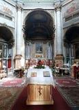 De binnenkant van de orthodoxe kerk in Genua stock afbeelding
