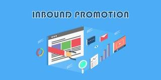 De binnenkomende marketing bevordering - 3d stijl - overhandigt holdingsmagneet, video, grafiek, e-mail marketing concept Vlakke  royalty-vrije illustratie