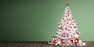 De binnenlandse achtergrond met witte 3d Kerstmisboom geeft terug stock illustratie