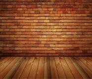 De binnenlandse baksteen van het huis en houten grungetextuur Stock Afbeelding