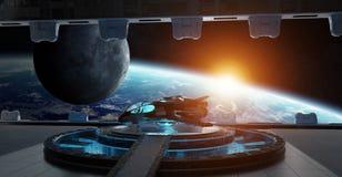 De binnenlandse 3D teruggevende elementen van het landingsbaanruimteschip van deze I Stock Afbeeldingen