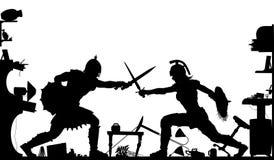 De binnenlandse gladiatoren silhouetteren Stock Afbeelding