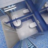 De Binnenlandse, hoogste mening van het toilet Stock Foto