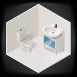 De binnenlandse isometrische vector van de toiletruimte Stock Afbeelding