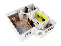 De binnenlandse lay-out van de de meningsflat van het flat dakloze perspectief zonder schaduw op witte 3d achtergrond geeft terug vector illustratie