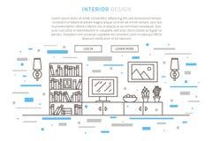 De binnenlandse lineaire vectorillustratie van het huisontwerp vector illustratie