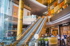 De binnenlandse mening van PICTOGRAM SIAM, is het nieuwe Winkelcentrum en het Oriëntatiepunt van Bangkok, Thailand stock foto's