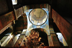 De binnenlandse mening van St Sophia Cathedral in Veliky Novgorod, Rusland Royalty-vrije Stock Afbeelding