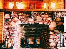 De binnenlandse middeleeuwse open haard van Gillette Castle stock fotografie