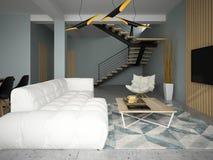 De binnenlandse moderne 3D illustratie van de ontwerpruimte Stock Afbeeldingen