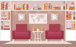 De binnenlandse vectorillustratie van de ontwerpwoonkamer Stock Afbeeldingen