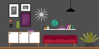 De binnenlandse vectorillustratie van het woonkamerhuis Stock Foto's