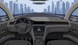 De binnenmening van de autobestuurder met leidraad, dashboardvoorpaneel en weg in de weg vectorillustratie van het windschermbeel royalty-vrije illustratie