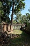 De binnenplaats van de dilapidated tempel complex in Indochina Oude ru?nes in het bos stock afbeelding