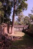 De binnenplaats van de dilapidated tempel complex in Indochina Oude ru?nes in het bos royalty-vrije stock afbeelding