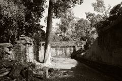 De binnenplaats van de dilapidated tempel complex in Indochina Oude ru?nes in het bos stock foto