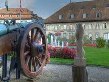 De binnenplaats van het kasteel in HDR, Morges, Zwitserland Stock Foto