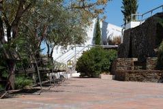 De binnenplaats van het middeleeuwse kasteel van Alcoutim stock fotografie